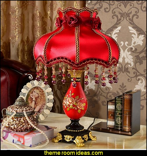 moulin rouge European Bedroom table lamp Moulin Rouge Victorian Boudoir style bedroom decorating ideas - Moulin Rouge style bedroom ideas - boudoir themed decor - Moulin Rouge decor ideas - French boudoir themed bedrooms - boudoir furniture - sexy themed bedroom decorating ideas - feathery lamps - bordello bedrooms - Romantic style bedrooms - French Victorian boudoir