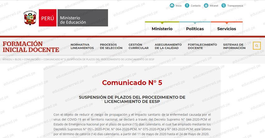 COMUNICADO MINEDU: Suspensión de plazos del procedimiento de licenciamiento de EESP (Reinicio 11 Junio)