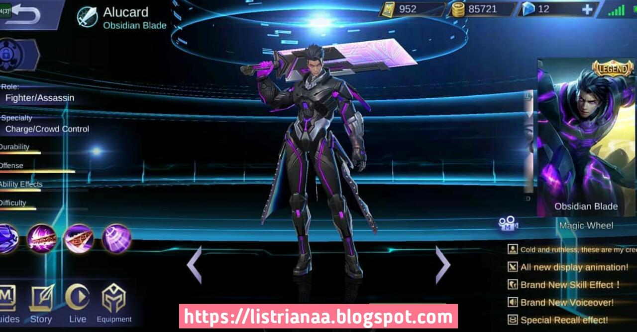 Keren Banget Ini Tampilan Asli Skin Legend Alucard Obsidian Blade Mobile Legends 2
