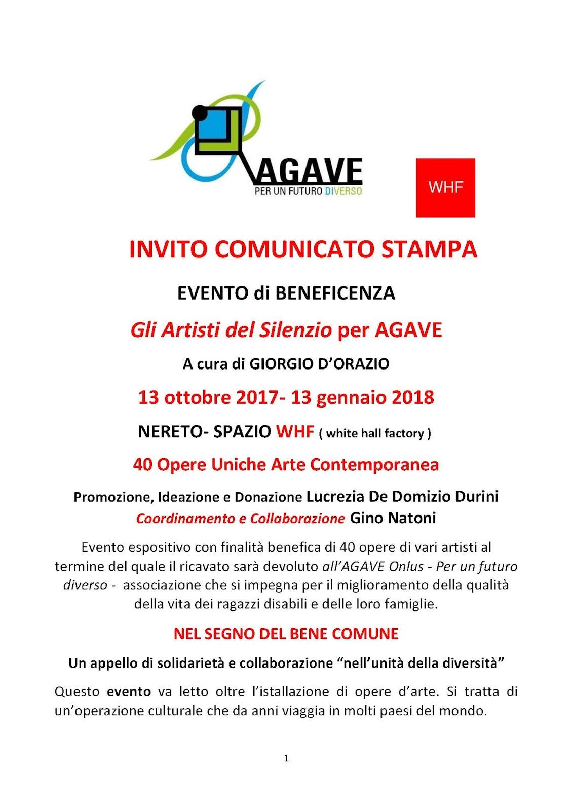 Exceptionnel SACSmostre: Gli Artisti del Silenzio per AGAVE - 13 ottobre 2017  FO71