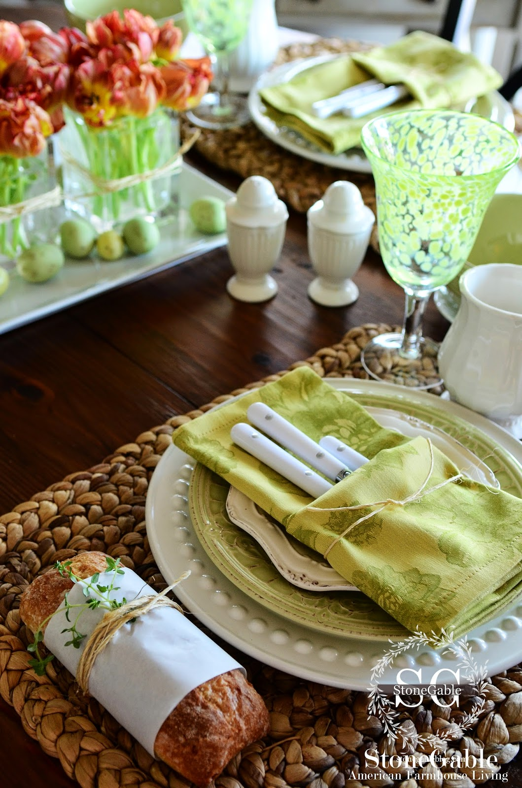 Shades Of Spring Green Tablescape Stonegable