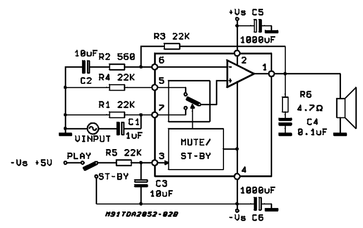 22w mono amplifier circuit diagram
