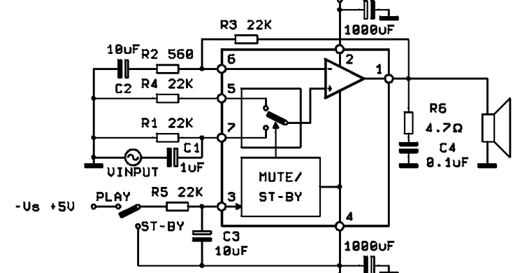 28W Hi Fi AUDIO POWER AMPLIFIER WITH MUTE STAND BY