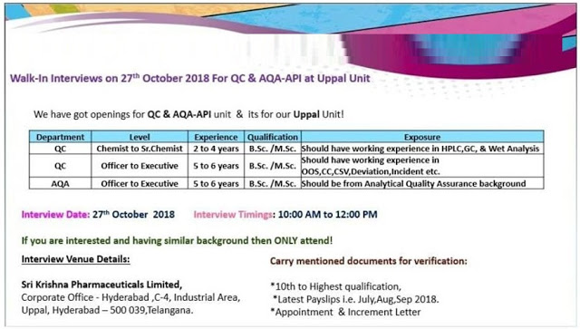 Sri Krishna Pharmaceuticals Walk In Interview for QC & AQA at 27 October