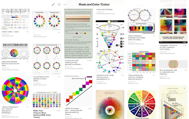 A selection of Pinterest pins featuring the use of colour in music. #VisualFutureOfMusic #WorldMusicInstrumentsAndTheory