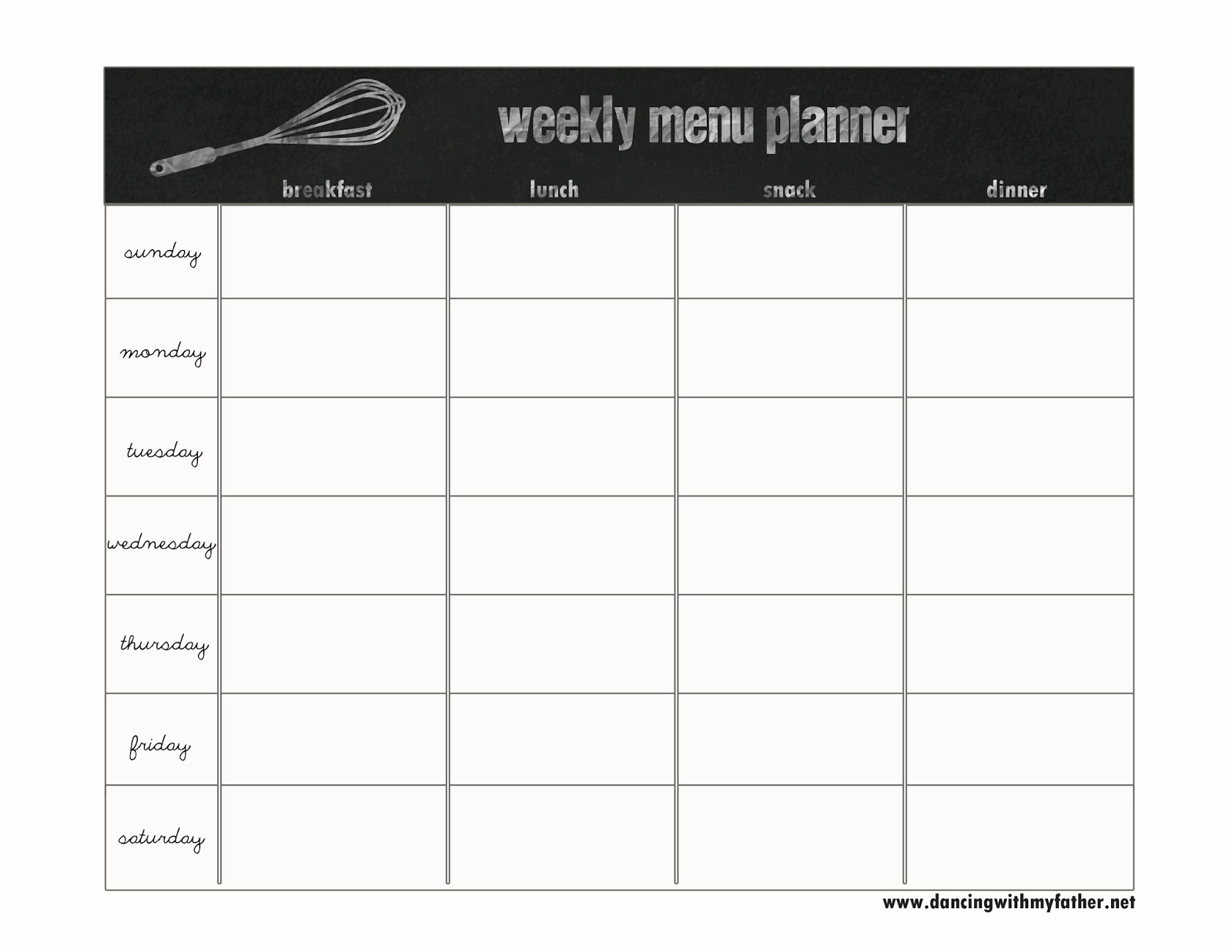Creative dollar our weekly menu system for Blank daycare menu template