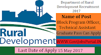 Rural Development Department Recruitment 2017–Block Program Officer & Technical Assistant