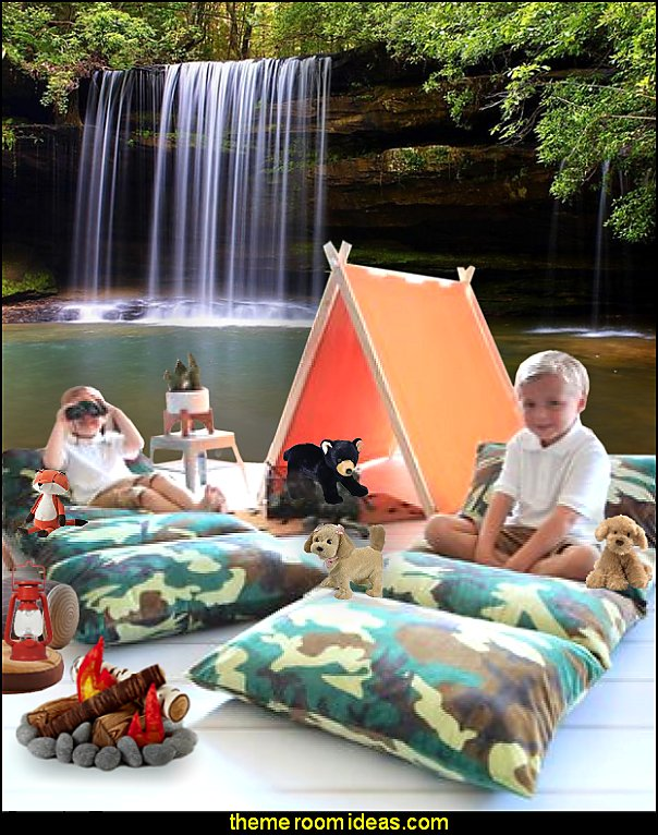 outdoor theme bedroom ideas - camping theme bedroom decor  - backyard themed kids rooms  - bugs and critters theme bedrooms - Happy Camper little boys outdoor theme bedroom - tree wall decal - dog wall decal stickers - treehouse bed  treehouse theme bedrooms - camping room decor - camping theme room - Boy Scout Camp mural - backyard garden camping bedroom ideas - nature inspired bedding - nature wallpaper murals - plush critter toys
