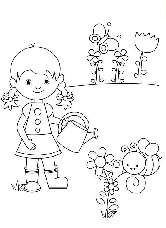 Tranh tô màu chủ đề mùa hè bé trồng cây