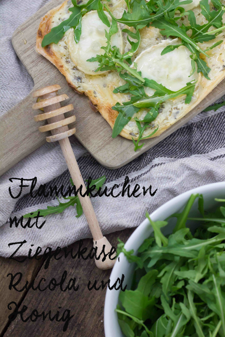lieblingsessen flammkuchen mit ziegenk se rucola honig kreativ. Black Bedroom Furniture Sets. Home Design Ideas