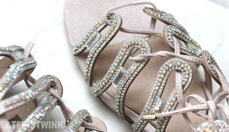 River Island beige sandals multicolor gems