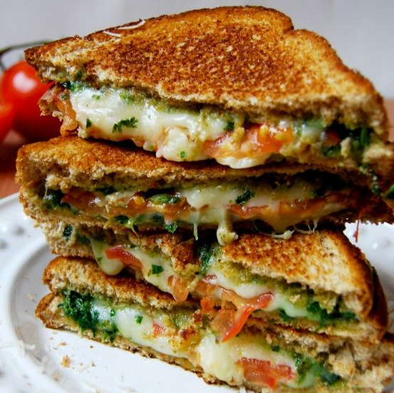 Basil Mozzarella Grilled Cheese