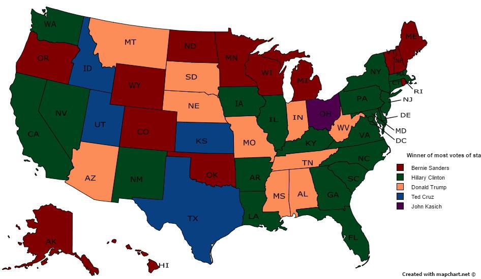 Winner of most votes in 2016 state primaries