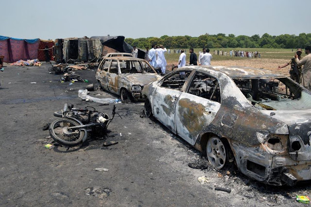 Death toll from a massive fuel tanker fire has risen to 157, Pakistani officials say