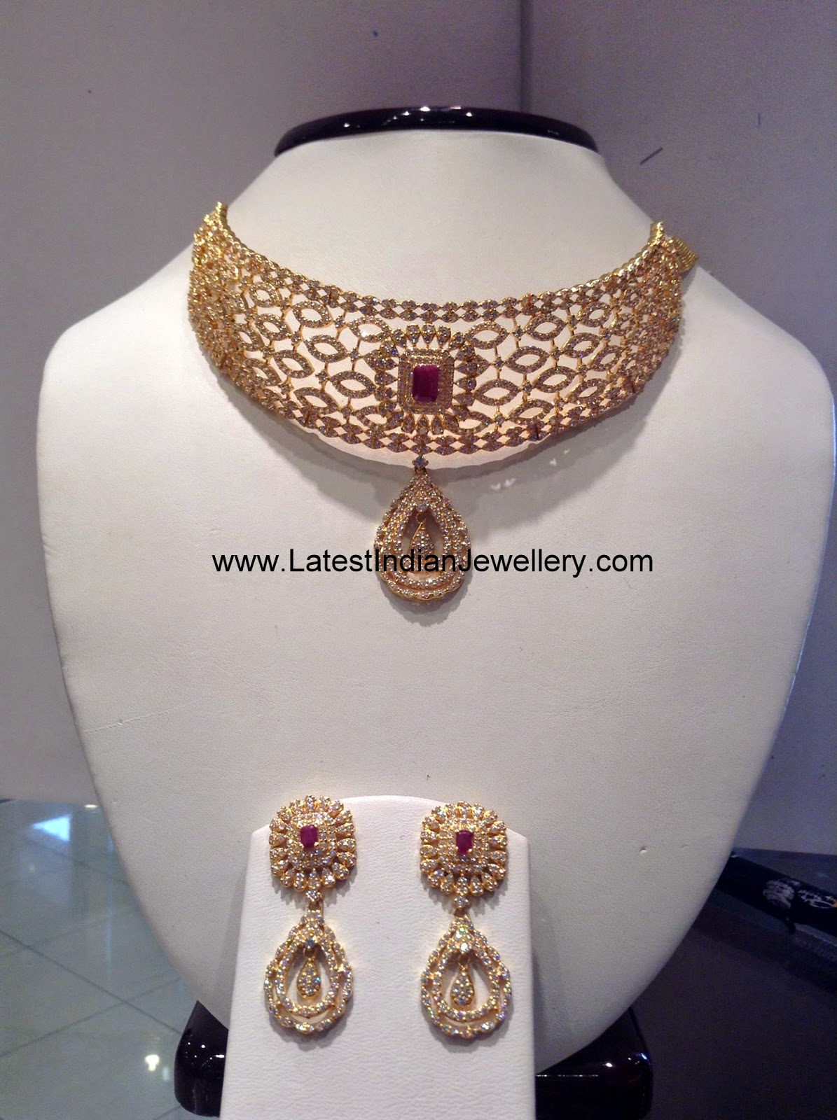 indian gold cz stones necklace