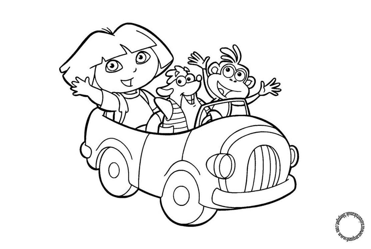 Gambar Mewarnai Dora Untuk Anak