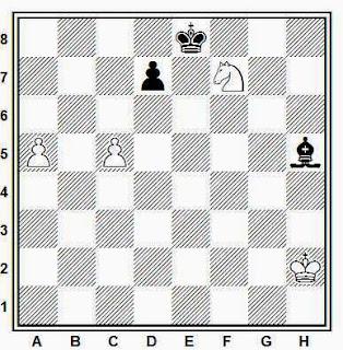 Estudio artístico de ajedrez compuesto por H. Mattison (Rigaer Tageblatt, 1914)