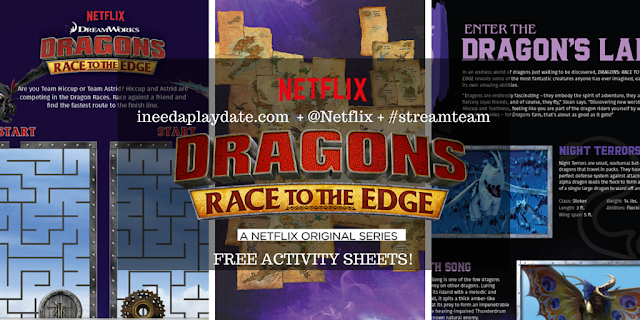 Dragons: Race to the Edge Free Activity Sheets #streamteam #netflix #dragons #hiccup #toothless