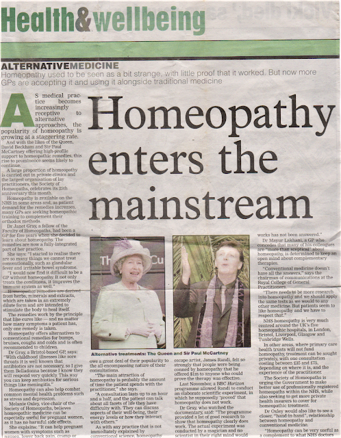 Homeopathy enters the main stream,NHS Homeopathist and GP explains why.
