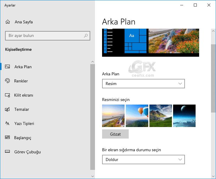 Windows 10'da duvar kâğıdı nasıl değiştirilir? www.ceofix.com