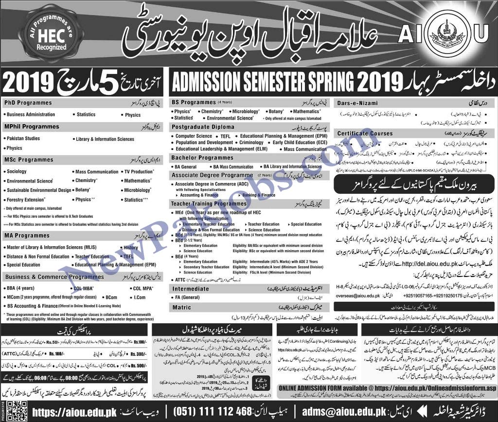 Allama Iqbal Open University AIOU Admission