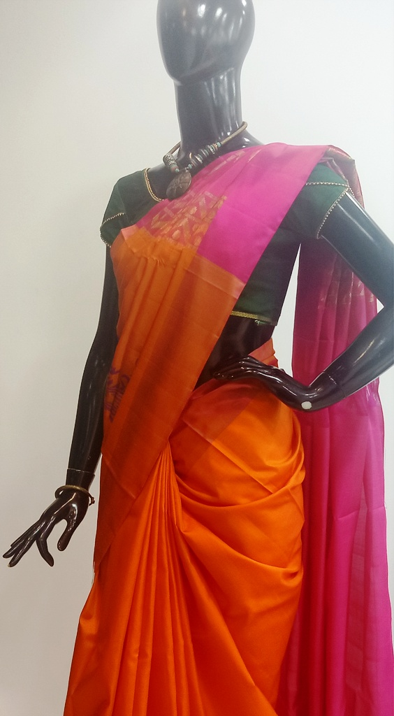 Pure Silk Orange And Pink Combination Saree
