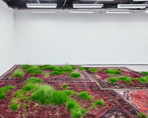www.Tinuku.com Martin Roth planting grass on Persian rugs in Koo Jeong A. exhibition at Korean Cultural Centre UK