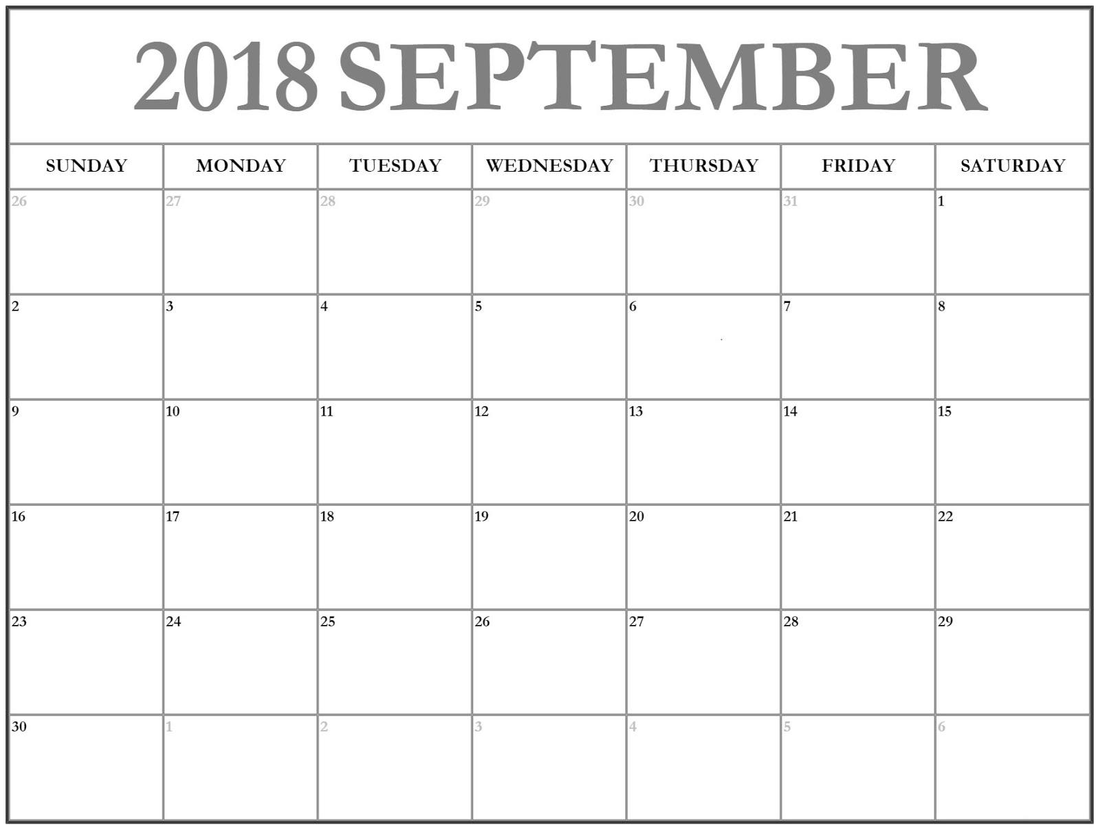 Editable Calendar 2018 September