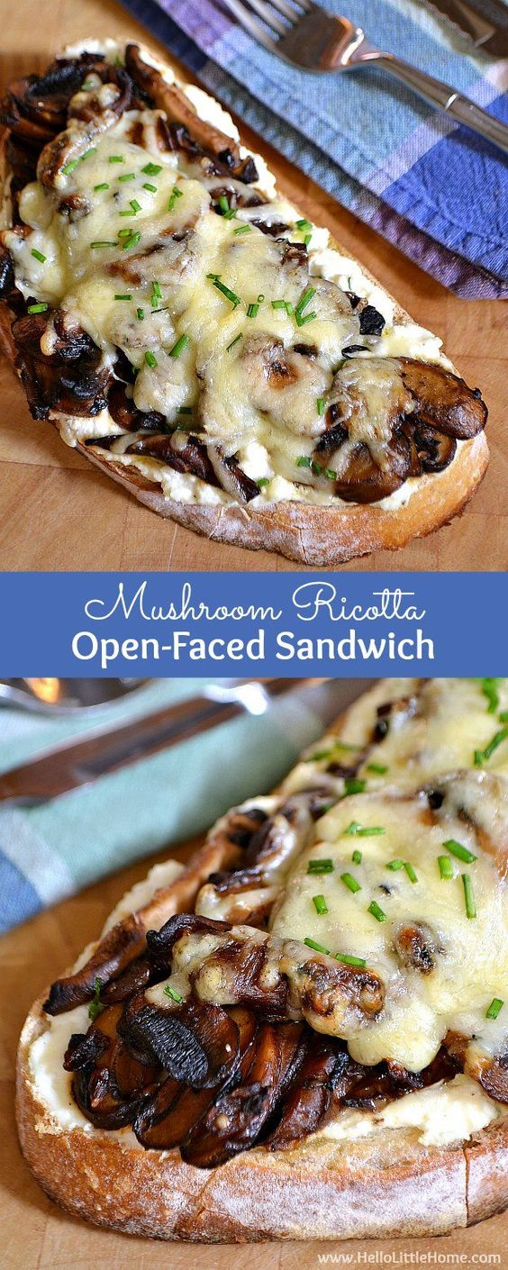MUSHROOM RICOTTA OPEN-FACED SANDWICH #mushroom #ricotta #sandwich #mushroomricotta #vegetarian #vegetarianrecipes