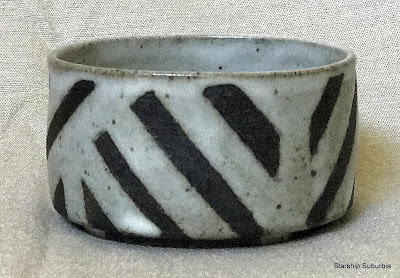 White and black striped bowl