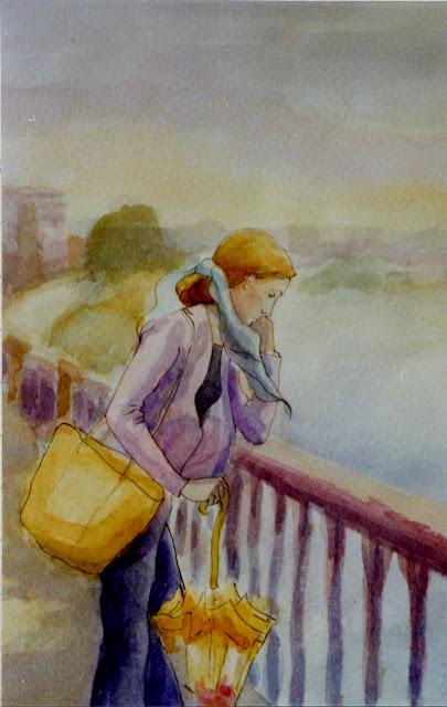 Cristina Alonso arte original acuarela mujer en el puente lluvia