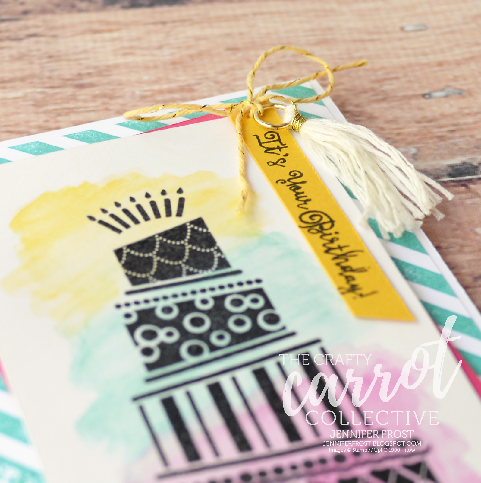 Cake Crazy The Crafty Carrot Collective Watercolor Pencils Diagonal Stripe Background Stampin
