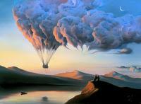 Bulutlara asılı olan bir sıcak hava balonu sepeti