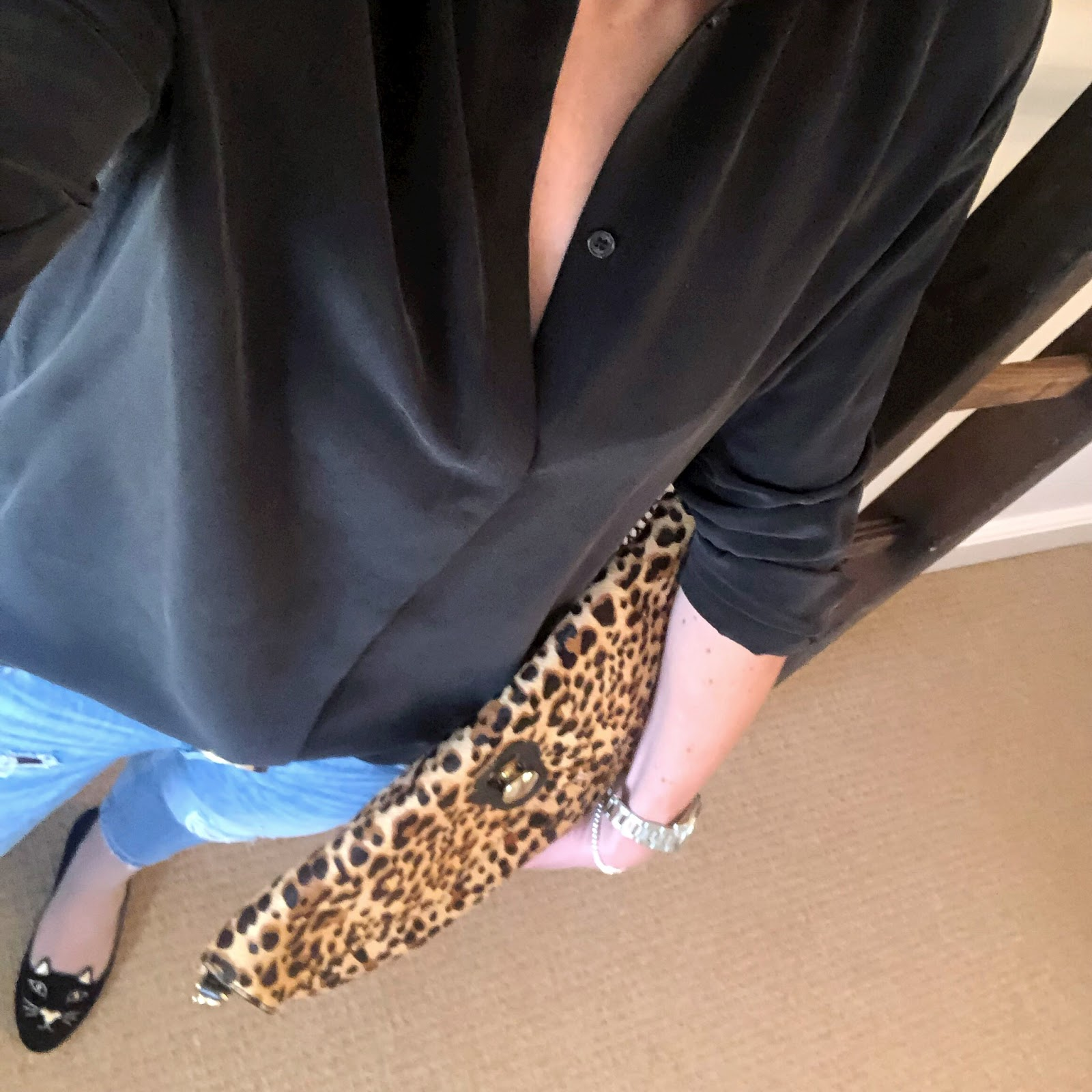 my midlife fashion, and other stories silk shirt, zara leopard print bag, zara distressed cigarette jeans, charlotte olympia kitty flat shoes