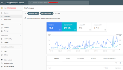 tampilan google webmaster tool