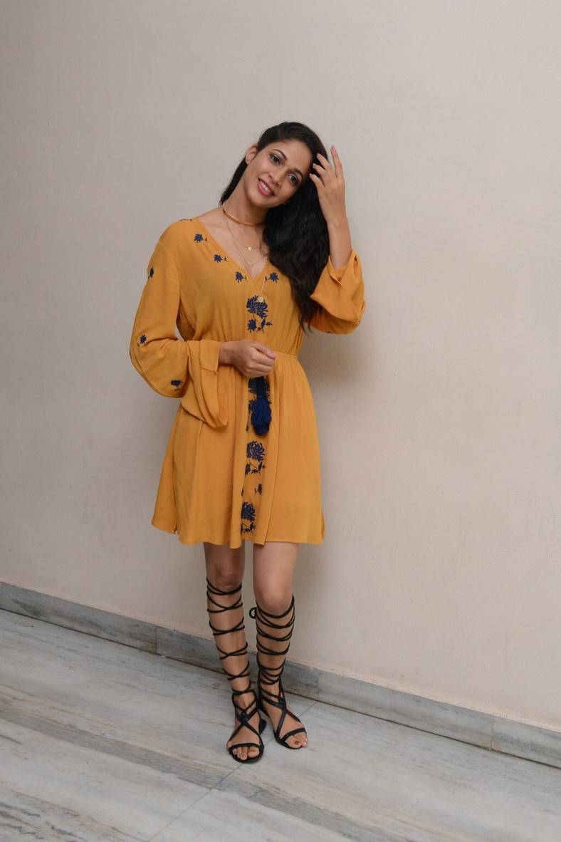 Lavanya Tripathi Legs Show Images In Short Yellow Dress