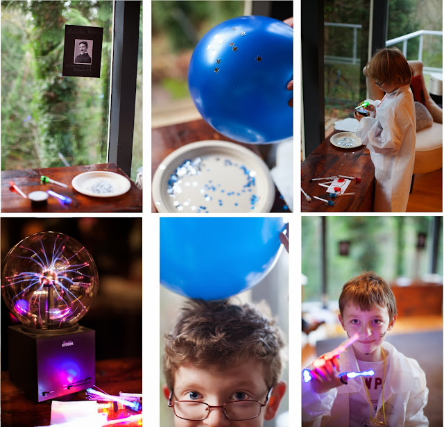 Static Electricity, Plasma Dish, Plasma Ball, and Fiber Optic Finger Lasers for our Science Party