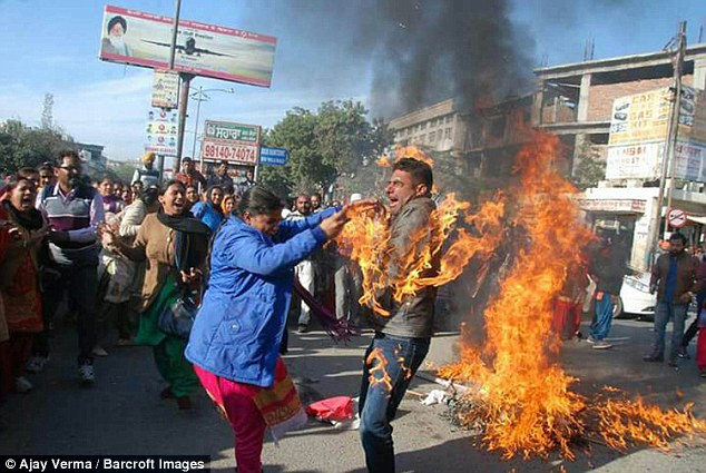 Man Accidentally Sets Himself On Fire During Protest In ...
