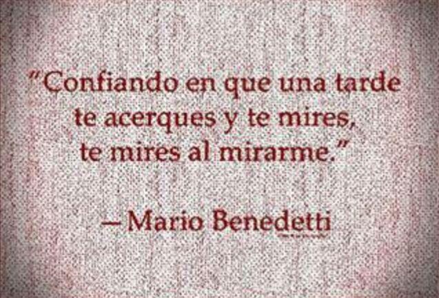 """""""Confiando en que una tarde, te acerques y me mires, te mires al mirarme."""" Mario Benedetti"""