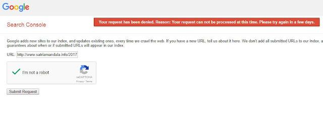 Cara Mengatasi Error Pada Submit Url Webmaster