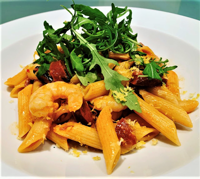 Penne with Prawns, Chorizo & Rocket