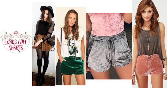 Looks com Shorts de veludo