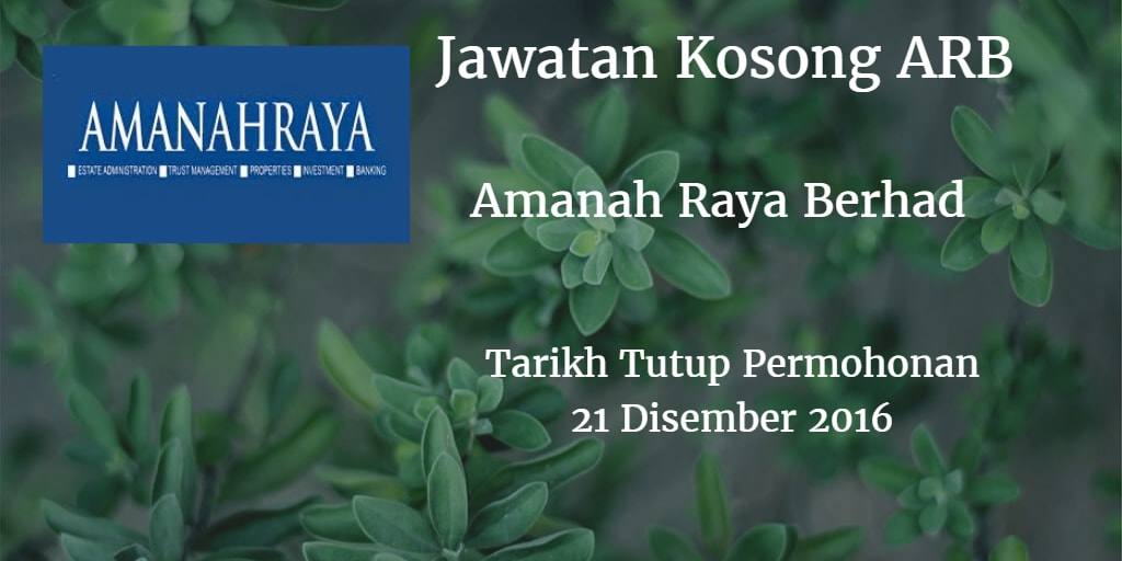 Jawatan Kosong ARB 21 Disember 2016