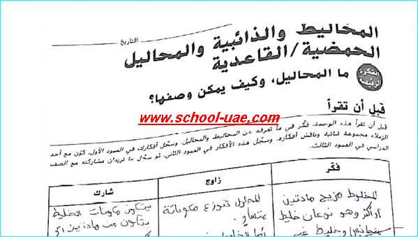 حل كتاب النشاط علوم للصف السادس الفصل الاول - مدرسة الامارات