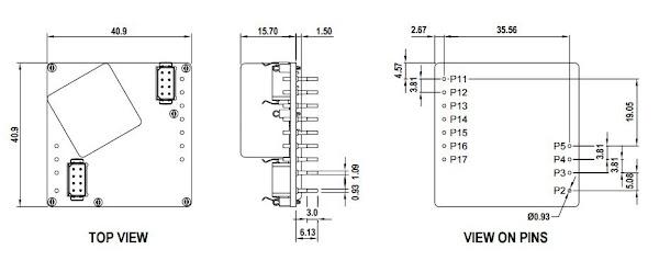 Габаритные и установочные размеры HPTR