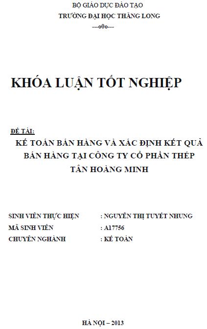 Kế toán bán hàng và xác định kết quả bán hàng tại Công ty Cổ phần thép Tân Hoàng Minh