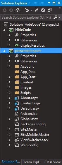 solution explorer contains two project