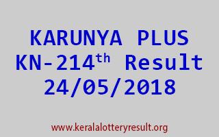 KARUNYA PLUS Lottery KN 214 Result 24-05-2018