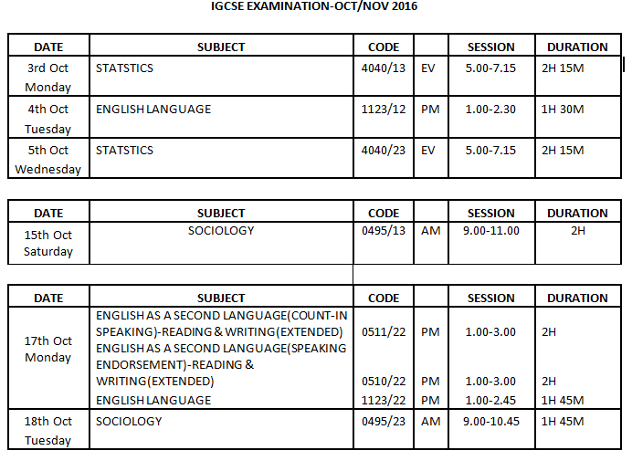 Cie Exam Timetable 2019