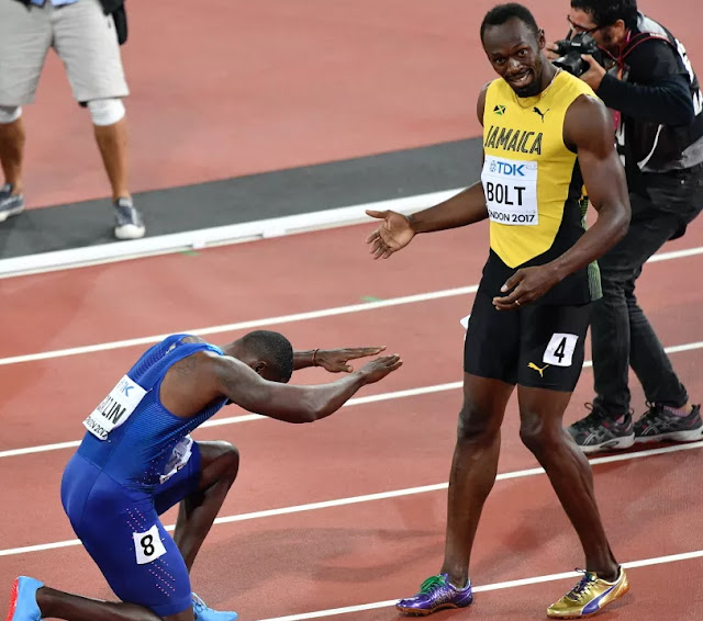 gatlin becomes world's fastest manj